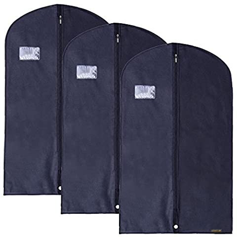 Hangerworld Synthetic 40-Inch Breathable Suit Garment Clothes Cover Bags, Pack of 3, Blue