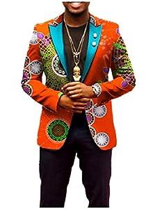 343e56febd4b Vinyst Men African Printed Various Print Cotton Plus Size Blazer Outwear  Orange M