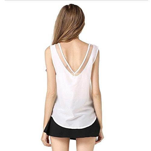 Sexy V-Ansatz Normallack Voile Chiffon Tank-Top Für Frauen Asymmetrische Spitze Weiß