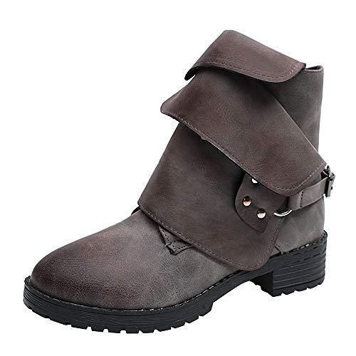 Sannysis Stiefeletten Damen Elegant Stiefeletten mit Absatz Vintage Martin Stiefel Warm Ankle Boots...