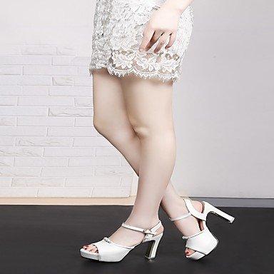 LvYuan Da donna Sandali Finta pelle PU (Poliuretano) Estate Autunno Footing Fibbia Quadrato Bianco Blu Rosa Tessuto almond 7,5 - 9,5 cm Blue