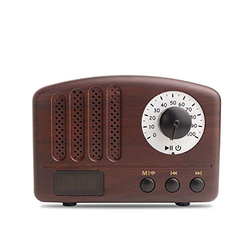 Leoyee - Altavoz Bluetooth Mini Altavoz Portátil Bluetooth 4.2 con Reproductor de Conexión Inalámbrica Multifunción/Radio FM/Micrófono/USB/TF/Sonido único (Madera Retro)