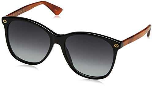 Gucci Damen GG0024S 003 Sonnenbrille, Schwarz (Black/Grey), 58