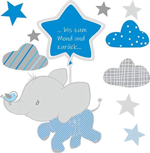 greenluup Wandsticker Wandtattoo Elefant Tiere Sterne Wolken Blau Grau bis zum Mond Kinderzimmer Mädchen Junge Baby (w37)