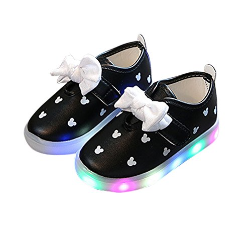 Yiwa Prinzessin Shoes Baby beil?ufige Schuhe mit LED leuchtenden Breathable weiche Bowknot...