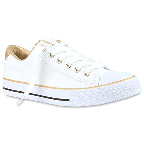 Weiße Damen Basic Sneakers Low Bequeme Freizeit Turnschuhe Gold