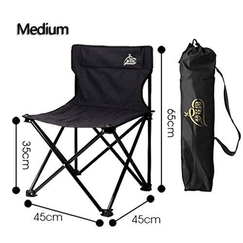 WRZHRXXH Falten Camping Stuhl Im Freien Garten Tragbar Hocker Fischen Stuhl Malerei Skizze Stuhl Camping Freizeit Zurück Stuhl-Mittel-Helles Schwarz