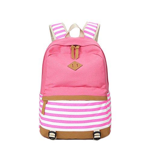 HAOYUXIANG Donne Studenti Zaino Di Tela A Righe Multicolor,Gray Pink