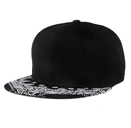 Malloom® Paisley Black Snapback Boy Hiphop Hat Adjustable Baseball Cap Unisex