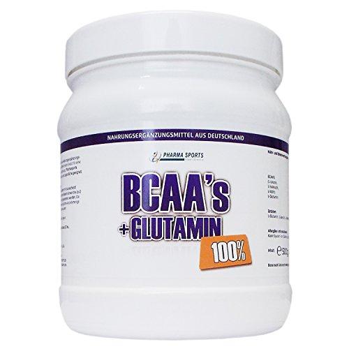 BCAA / L-Glutamin 500g Dose Pulver 50/50 Mischung : 100 Prozent rein, Aminosäuren Premium-Qualität | Rein pflanzlich Ohne künstliche Aromen | Made in Germany |