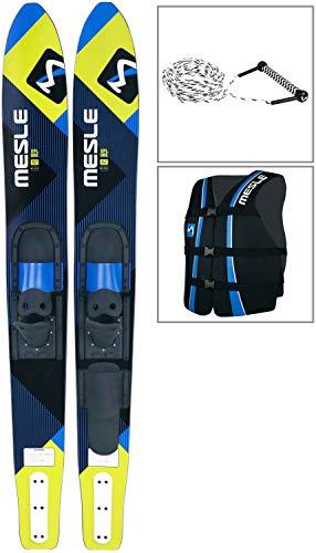 MESLE Combo-Ski Package XPlore 157 cm mit Weste Sportsman + Leine Combo, Wasserski für Jugendliche und Erwachsene, blau-Lime -
