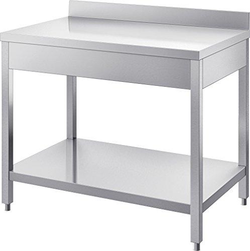 GAM Gastro Edelstahl Arbeitstisch Tisch 110 cm breit 1 Ablagefläche + Abschlusskante ***NEU***