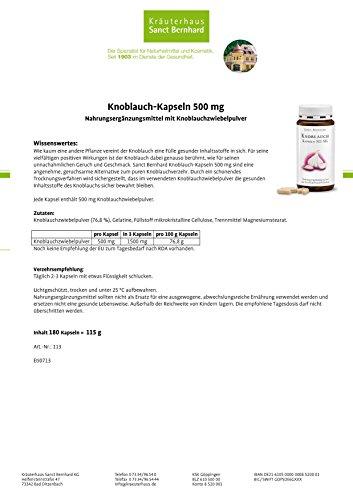 Sanct Bernhard Knoblauch-Kapseln mit Knoblauchzwiebelpulver 500 mg, 180 Kapseln - 2