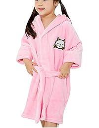 QitunC Unisexo Niños Cartoon Espesar Albornoz con Capucha Super Suave Bata Pijama De Franela Pink 130