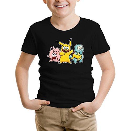 T-shirt Enfant garçon Jeux Vidéo - Parodie Pikachu de Pokemon et Bob l'Eponge - Une troupe de joyeux Cosplayers :) - T-shirt Enfant garçon Noir - Haute Qualité (775)