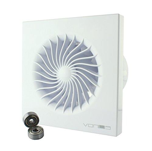 MKK - 18467-004 - Badlüfter Wohnraumlüfter Wandlüfter Deckenlüfter Ventilator Ø 100 mm in weiß Feuchtigkeitssensor