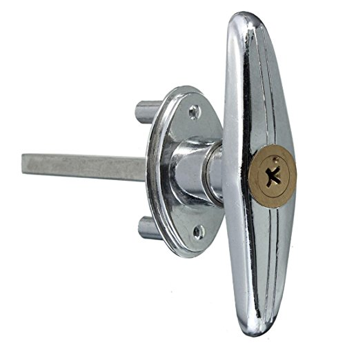 T Griff Tuerschloss - SODIAL(R) Garagentorschloss Tuerschloss T Griff mit Schloss Schluessel Schraube Metall Kupfer