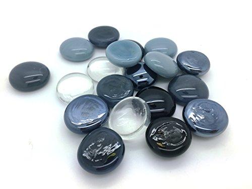 Carrelage en mosaïque de verre pépites - Noir et Blanc Mix arrondis Gems
