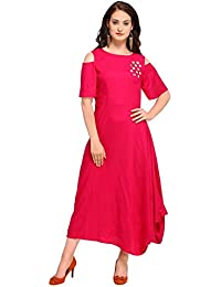 Inddus Pink Cotton Rayon Solid Asymmetric Flared Dress