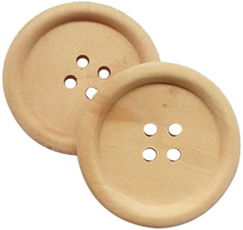 Great For Sewing The Bead and Button Box Dia 1 1//8 embellishment and other craft projects 10 Classic Reddish Brown 4 Holes Round Wood Sewing Buttons 30mm Scrapbook