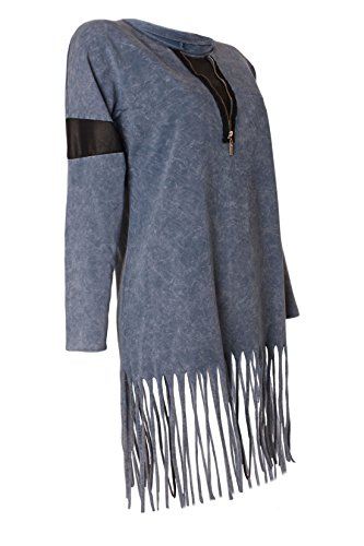 Italy Fashion Longshirt Langarm Krempelärmel Batik Wash Vintage Look Deko Reißverschluss & Fransen Blau