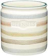 Kitchen Craft Classic Collection Porta Utensili da Cucina in Ceramica, a Righe, Colore: Panna