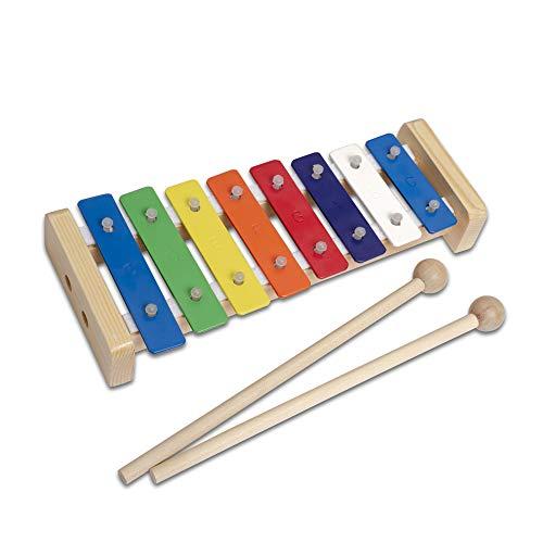 CASCHA Buntes Glockenspiel aus Holz, Xylophon für Kinder mit zwei Schlägeln und Anleitung mit 5 Kinderliedern, Musikinstrument ab 3 Jahren