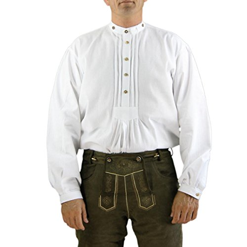 Cordes & Heseler 3014-1 Hemd Country Road House Trachtenhemd mit Stehkragen aus 100% Leinen in Farbe weiß Größe 38 (erhältlich in 37 - 46)