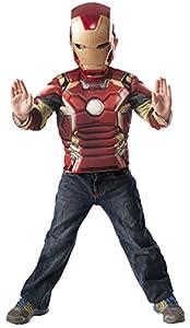 Avengers - Iron Man Age of Ultron, pecho musculoso y máscara de disfraz para niños (Rubie