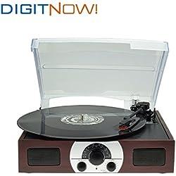Digitnow! tocadiscos estéreo de 3 velocidades con altavoces incorporados (AM/FM, estéreo, 33/45/78 rpm), color marrón