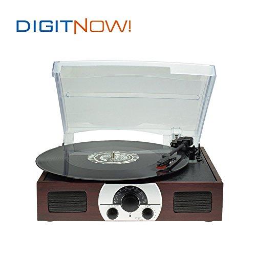 DIGITNOW! tocadiscos estéreo plato giradiscos plato vinilo de 3 velocidades con altavoces incorporados (AM/FM, estéreo, 33/45/78 rpm), color marrón