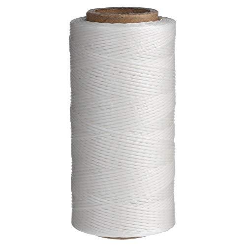 Candora Hilo de costura encerado, 260 m, 0.8 mm, aguja de cincel, para tapiceria, zapatos y equipaje, blanco