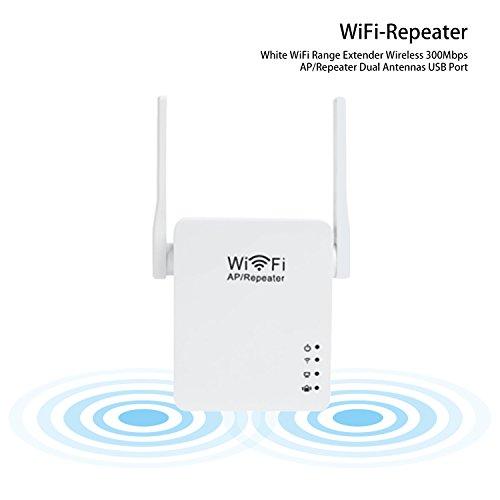 CIMIVA-WR05U Enrutador Inalámbrico Extensor de Red Wifi Repetidor Amplificador Wifi Doble Banda Enchufe USB (300Mbps, 2 Antenas, Color blanco)