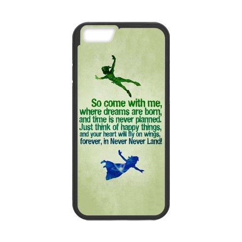 """Disney Peter Pan Étui en silicone TPU Coque de protection pour iPhone 6(4,7""""inch) Étui avec Screen Protector, Mobile Phone Case Back Cover Blanc Noir for iPhone 66S (4.7inch)"""