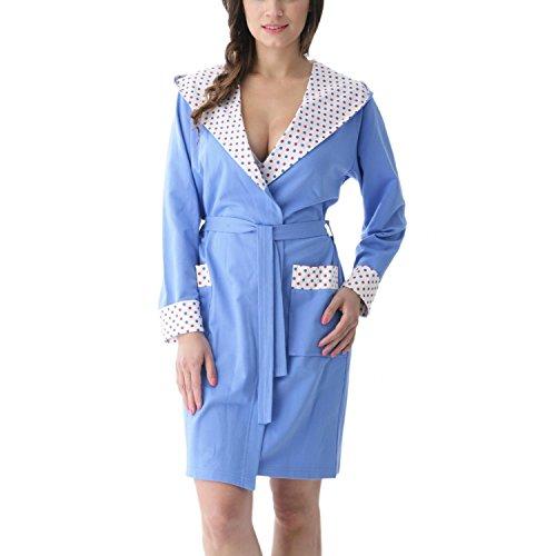 Aquarti Damen Bademantel mit Kapuze Kurz Baumwolle, Farbe: Blau/Bunte Tupfen, Größe: S