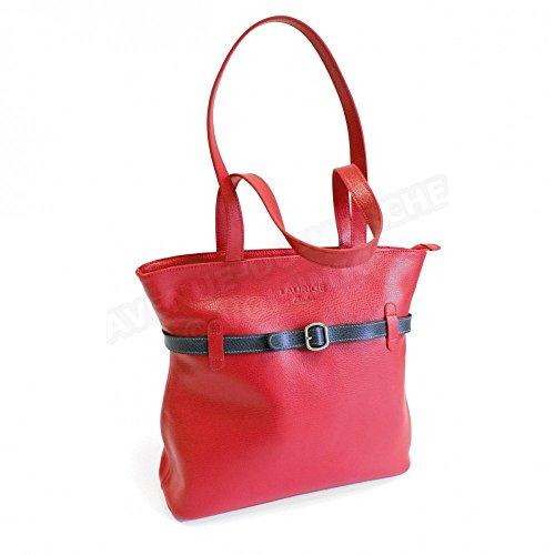 Sac épaule ou à main Amélie Cuir Laurige Fabrication Luxe Française Rouge