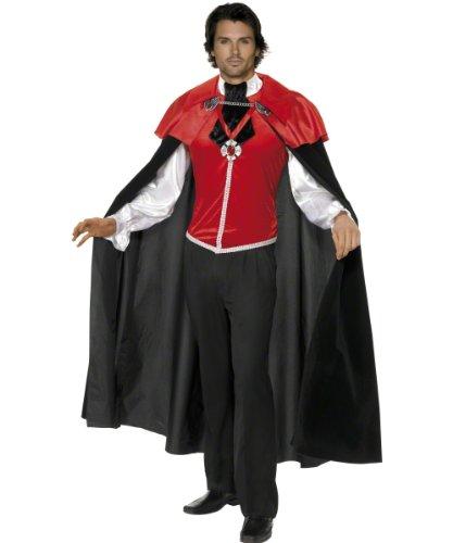Smiffys 34489M - Gothic Manor Vampir Kostüm Mann Shirt mit angenähter Krawatte und Cape