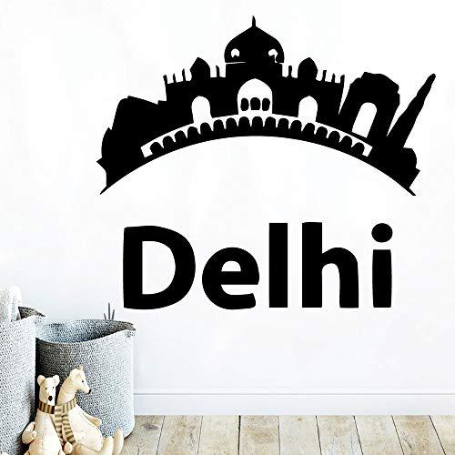 TYLPK Diy Art Delhi Selbstklebende Vinyl Wasserdichte Wandkunst Aufkleber Aufkleber Wanddekoration Wandbilder Naklejki Na Sciane Adesivi Murali Rosa XL 57 cm X 65 cm