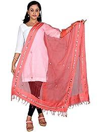 Fashion Store Tissue Mirror Work Party Wear Dupatta,chunni,stole,scarves(Length:99 Inche,Peach)