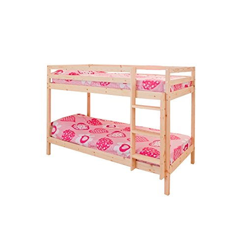 2ft6 Shorty Childrens Bunk Bed in Pine with 2 Standard Mattresses Zara