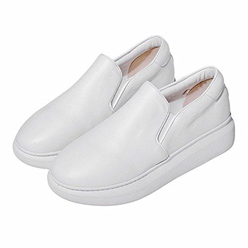 VogueZone009 Femme Couleur Unie Pu Cuir à Talon Bas Rond Tire Chaussures Légeres Blanc