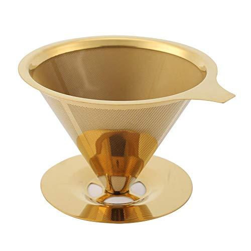 Edelstahl Titan Goldgießen Sie Kaffee Tropf Filter mit Cup Stand und Griff Double Layer Mesh Filter Design MEHRWEG VERPACKUNG socialme-eu