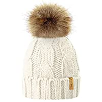 TOSKATOK Ladies Chunky Soft Cable Knit Hat with Cosy Fleece Liner and Detachable Faux Fur Pompom... 13