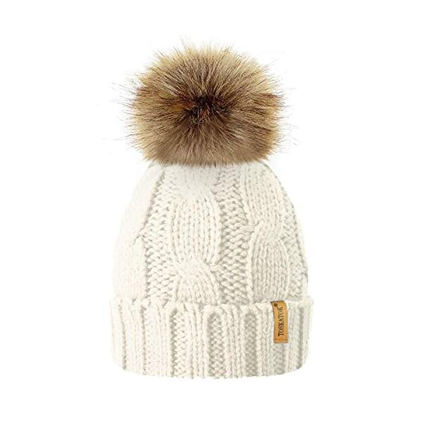 TOSKATOK Ladies Chunky Soft Cable Knit Hat with Cosy Fleece Liner and Detachable Faux Fur Pompom… 1