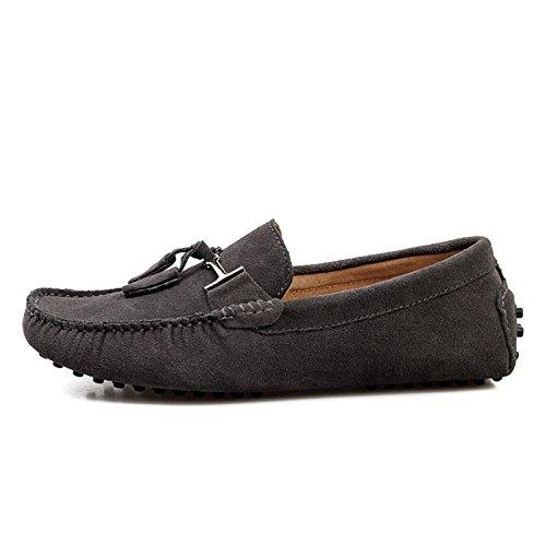 Mens Minitoo Nouvelle chassen daim pour chaussures bateau Loafers Penny de conduite Gris