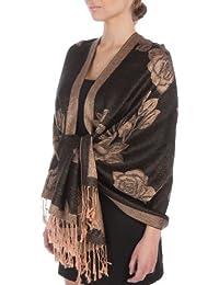 Sakkas Lightweight Two Tone Rose Floral Design Pashmina Feel Fringe Scarf/Stole/Wrap