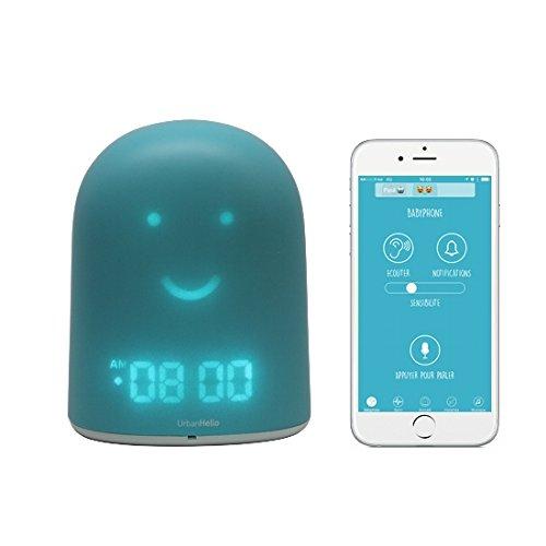 UrbanHello REMI – Babyphone Ecoute-Bébé avec alertes de bruit 5-en-1 - Veilleuse - Enceinte Bluetooth - Réveil Jour Nuit éducatif et Suivi du sommeil - en Bleu