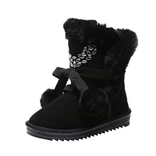 YWLINK Damen Winterschuh Warm Futter Halten Stiefel Aus Baumwolle SchnüRstiefeletten Kurze Schneestiefel Bequem Klassisch MäDchen Flache Schuhe BommelmüTze(37 EU,Schwarz)