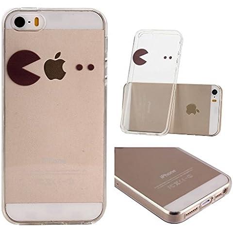 iPhone 5C Cover , YIGA 3D Nero Semplice Trasparente Silicone Cristallo Morbido TPU Case Custodia per Apple iPhone 5C