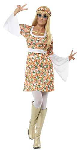 Stiefel Weiß Herren Kostüm - Smiffys, Damen Flower Power Kostüm, Kleid und Haarband, Größe: S, 23706